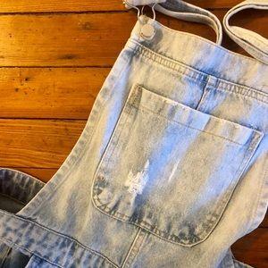 Light jean overalls